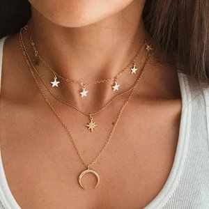 Layered Gold Star & Moon Gypsy Necklace New